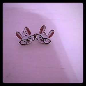 Bunnies with Glasses Earrings